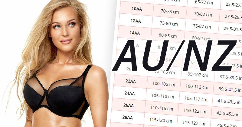 مقاس حمالة الصدر أسترالية (AU) ونيوزلندية (NZ)، مع قياساتها بالسنتيمترات والبوصات