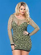 583cf7f45aa Seamless leopard mini dress with diamond net